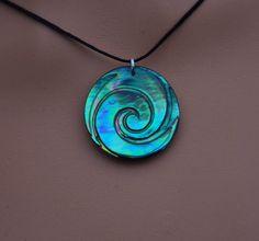 Moana style koru ocean ~ New Zealand Paua Shell pendant by JackieTump on Etsy