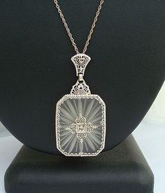 Art Deco Antique 14kt White Gold Camphor Glass Diamond Filigree Pendant Necklace | eBay