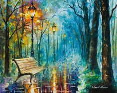 Glossy Wall Art Blue Oil Painting On Canvas By Leonid Afremov #OilPaintingArt