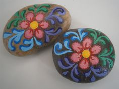 Flowers+Painted+Rocks++colorful++acrylic+on+rock++by+PlaceForYou,+$7.00
