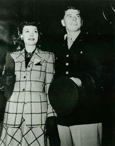 Ronald Reagan & Jane Wyman Arrive At The Hollywood Canteen For The Canteen's First Anniversary