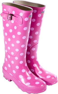want these pink polka dot boots Pink Love, Pretty In Pink, Pink Purple, Pink Girl, Hot Pink, Wellies Boots, Shoe Boots, Fur Boots, Pink Fashion