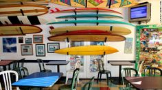 Taco Surf, a family-run taco shop on Pacific Beach, doubles as a museum of Southern California surf culture. Harcourts Crown for all your San Diego Real Estate needs San Diego Vacation, San Diego Travel, San Diego Beach, Moving To California, California Dreamin', Surf House, America's Finest, Surf City, Pacific Beach