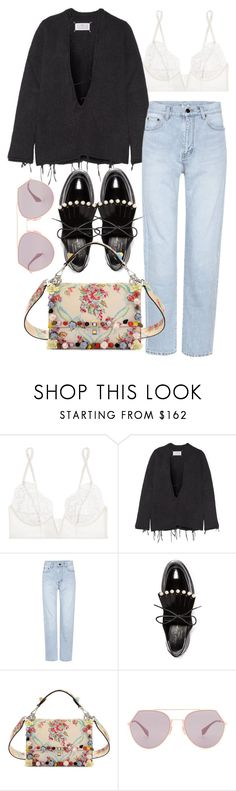 """""""Untitled #3571"""" by bubbles-wardrobe ❤ liked on Polyvore featuring La Perla, Maison Margiela, Yves Saint Laurent, Robert Clergerie and Fendi"""