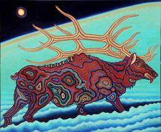 "The Long Journey Into Night Oil On Canvas 36"" X 48"" 2010 The Longest Journey, Oh Deer, Antlers, Reindeer, Oil On Canvas, Moose Art, Artsy, Seasons, Oil Paintings"