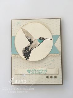 Here is yet another beautiful card (well, I think so!) using the Picture Perfect stamp set.   I used crumb cake, basic black and bermuda bay for the hummer, stamped her on a piece of Very Vanilla card
