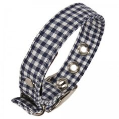 Blue Gingham Fabric Dog Collar
