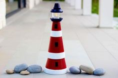 Terra Cotta Clay Pot Lighthouse