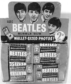 Beatles bubble gum with wallet sized cards....goodness knows what happened to the ones I collected....loads of them too!