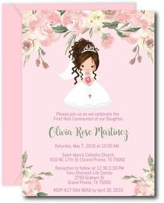Floral Girl First Communion Invitations Holy Communion Invitations, First Communion Favors, First Holy Communion, Birthday Invitations, Printable Invitation Templates, Invitation Wording, Flower Girl Tutu, Flower Girls, Mystery Parties