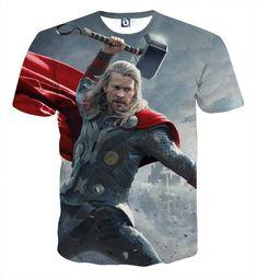 Thor Hammering Down 3D Printed Thor T-Shirt
