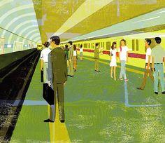 At a subway station. #illustration #illustrator #japan #tokyo #subway #tube #train #businessman #passengers #transportation #underground #lifestyle #art #life #social #happy #love #イラスト
