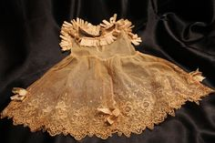 Victorian Era Lace Baby Dress Infant Antique Gown Hand Sewn Doll Pink Ivory NICE