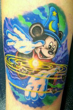 Mickey Tattoo, Mickey Mouse Tattoos, Mickey Mouse Art, Disney Tattoos, Baby Name Tattoos, Tattoos With Kids Names, Time Tattoos, Tatoos, Son Tattoos
