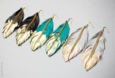 Feather Earrings  Leather Feather Jewelry  by LoveAtFirstBlush, $35.00