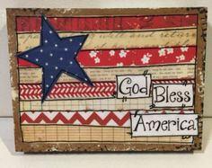 Items similar to Patriotic Sign, Mixed Media Flag, Flag Art on Etsy 4th July Crafts, Patriotic Crafts, Upcycled Crafts, Diy And Crafts, Paper Crafts, Rug Hooking Patterns, Flag Art, Owl Print, Flag Decor