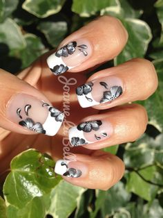 Gel extensions with free hand nail art