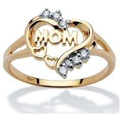 Mom Heart Ring with Diamond Accents ($220) ❤ liked on Polyvore featuring jewelry, rings, i, jewelry & watches, gold jewelry, heart jewelry, gold heart shaped ring, gold jewellery and diamond accent rings