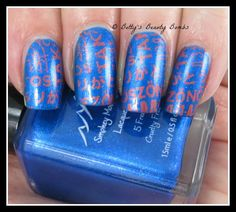 http://www.bettysbeautybombs.com/2015/02/22/word-nail-art/ / Word nail art using Smokey Mountain Lacquer Pleasure in Your Base