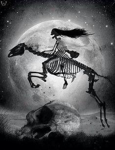 Lady skeleton riding a horse skeleton over a huge skull -- by Dan Verkys Gouts Et Couleurs, La Danse Macabre, Skeleton Art, Arte Horror, Creepy Art, Gothic Art, Grim Reaper, Skull And Bones, Halloween Art