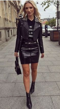 how to wear a leather skirt : moto jacket + printed top + bag… - http://sorihe.com/fashion01/2018/03/10/how-to-wear-a-leather-skirt-moto-jacket-printed-top-bag/