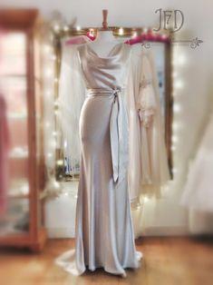 1930s inspired bias-cut oyster silk satin cowl neck wedding dress with waist sash