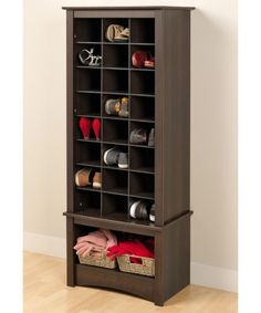 Espresso Tall Shoe Cubbie Cabinet - Hall Trees at Hayneedle