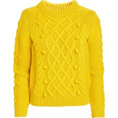 Cable Knit Sweater (€35) ❤ liked on Polyvore featuring tops, sweaters, yellow cable knit sweater, cable-knit sweater, wet look top, yellow sweaters and cable sweaters
