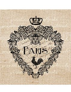 Vintage French Ephemera | Paris digital download Vintage heart French ephemera by graphicals on ...