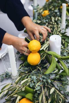 lemon and olive branch centerpiece
