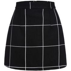 Black Plaid Mini Skirt (175 GTQ) ❤ liked on Polyvore featuring skirts, mini skirts, plaid mini skirt, short plaid skirt, stretch mini skirt, sexy plaid mini skirt and mini skirt