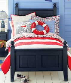 Blue and Red-Bedroom for kids - fun nautical theme