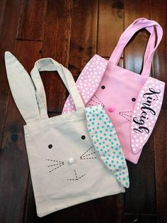 Bunny Tote Bag Easter Egg Hunt Personalized Tote Bag