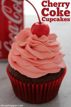 If you are looking to put a fun twist on a cupcake, these Cherry Coke Cupcakes will be perfect. You will find Coca-Cola and cherry flavors throughout the mix and icing plus a cherry in the middle for added surprise. Such a fun cupcake. Köstliche Desserts, Delicious Desserts, Dessert Recipes, Unique Cupcake Recipes, Cute Cupcake Ideas, Mini Cakes, Cupcake Cakes, Coke Cupcakes, Flavored Cupcakes