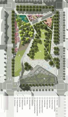 APUNTES - REVISTA DIGITAL DE ARQUITECTURA: PLAZAS Y PARQUES PARA LA CIUDAD ACTUAL Landscape And Urbanism, Landscape Design Plans, Landscape Architecture Design, Concept Architecture, Urban Landscape, Urban Design Concept, Urban Design Diagram, Urban Design Plan, Poket Park