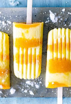 Keep cool with these mouthwatering peach and cream ice lollies. If you don't have any fresh peaches (or nectarines), you can always simply blend a tin of peach halves in syrup with the lemon to make the purée.