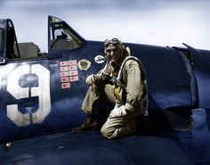 "Alexander Vraciu  was a leading United States Navy fighter ace and Medal of Honor nominee during World War II. He once shot down six Japanese dive bombers in eight minutes. Note ""Felix the cat"" emblem on the fuselage."