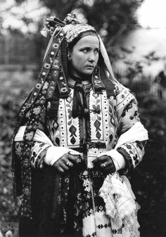 Bride in a short fur coat, decorated with motifs of color stitching leather. Central Slovakia, 1 half of the century. SNM - Museum of Ethnography in Martin. Photo K. Obrazok I have a section of the ribbon sash from my Grandmother's dress Half The Sky, Anthropologie, Ethnic Dress, Folk Costume, Traditional Outfits, Traditional Wedding, Looking For Women, Vintage Outfits, Bride