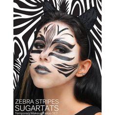 Zebra Stripes SugartTats Temporary Makeup Tattoos Zebra Costume,... (175 ZAR) ❤ liked on Polyvore featuring costumes