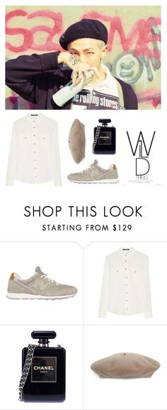 """""""Beige and Black"""" by pear-drop ❤ liked on Polyvore featuring New Balance, Balmain, Chanel and Gucci"""