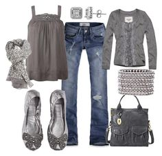"""""""Silver & Grey"""" by suntanmeg08 ❤ liked on Polyvore featuring Hollister Co., Tory Burch, DAY Birger et Mikkelsen, Rose & Rose, Lord & Taylor, Abercrombie & Fitch, FOSSIL and Philippe Audibert"""