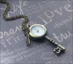 A personal favorite from my Etsy shop https://www.etsy.com/listing/250602095/key-watch-necklace-brass-key-pendant