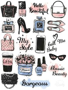 Beauty Girl Stuff Stickers Printable…                              …                                                                                                                                                     More
