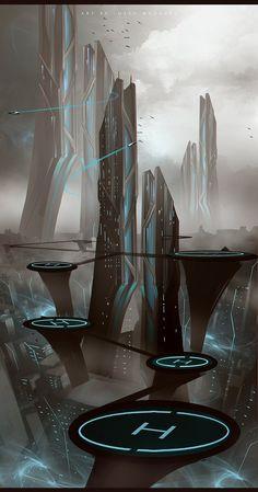 Ideas for landscape concept art sci fi science fiction Cyberpunk City, Futuristic City, Futuristic Architecture, Concept Art Landscape, Fantasy Landscape, Landscape Designs, Landscape Art, Landscape Wallpaper, Landscape Pictures