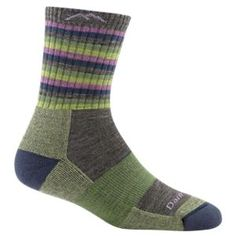 05ddf866c98 Darn Tough Stripes Micro Crew Cushion Hiking Socks for Ladies - Lime Stripe  - L