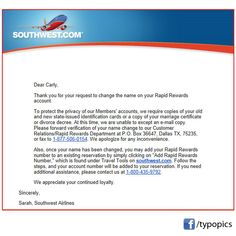 It's been a year since I got married, and I'm still having issues with the name change. This is an email I got from #SouthwestAirlines after I tried to email a copy of my driver's license and marriage certificate in efforts to use my #RapidRewards account.   From my stress comes your pleasure. Let's play a game of Find That #Typo. #Southwest