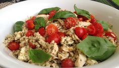 Casual Patio Dinner–Chicken With Pesto Couscous Mozzarella and Cherry Tomatoes