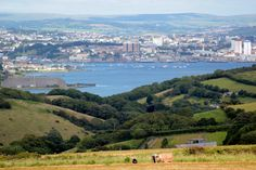 Plymouth from a hill near Whitsands bay.  Lovely ice cream van can be found there!