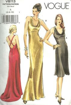Vogue Pattern Glamorous Evening Gown or Party Dress Holiday Special Occasion by harmonycollectibles Formal Dress Patterns, Evening Dress Patterns, Vintage Dress Patterns, Vintage Dresses, Evening Dresses, Vintage Sewing, Vogue Sewing Patterns, Clothing Patterns, Vintage Vogue