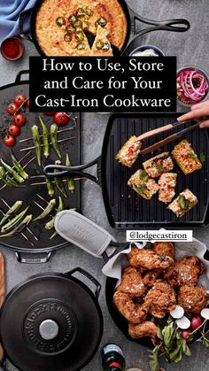 How to Use, Store and Care for Your Cast-Iron Cookware Lodge Cookware, Cast Iron Cookware, Making Grilled Cheese, Food Hacks, Food Tips, Lodge Cast Iron, Cast Iron Skillet, Learn To Cook, Wok